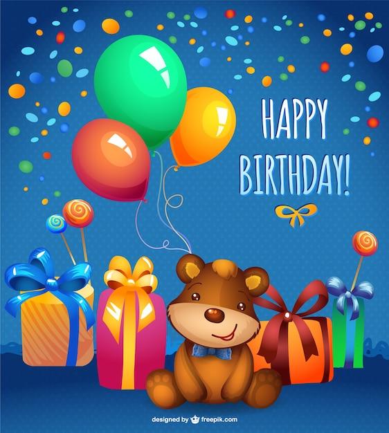 Vetor teddy bear cartão de aniversário Vetor grátis