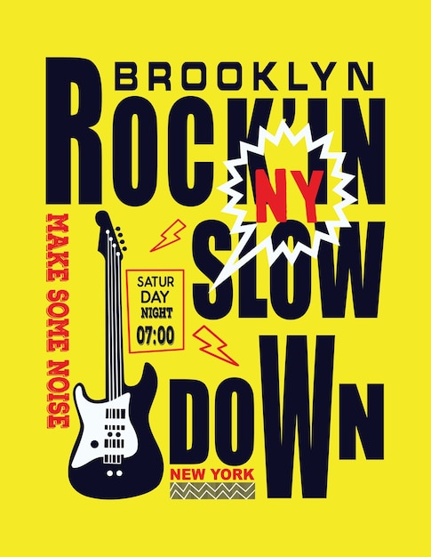 Vetor tipográfico de música de brooklyn new york Vetor Premium