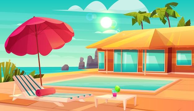 Vetor tropical dos desenhos animados do hotel de recurso tropical com cocktail na tabela, Vetor grátis