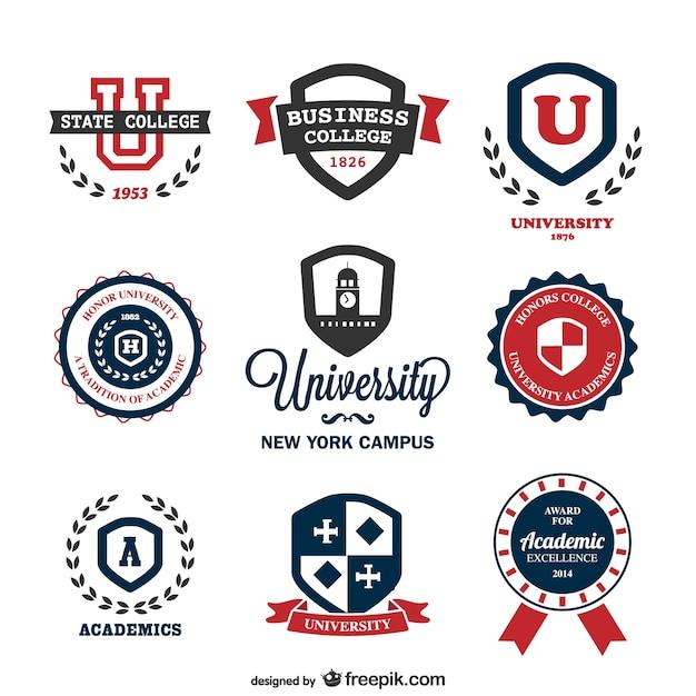 Vetor universidade logos modelos Vetor grátis