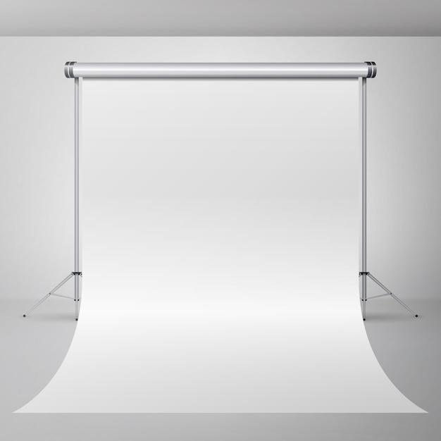 Vetor vazio do interior do estúdio da fotografia 3d. ilustração de apartamento realista fotógrafo. Vetor Premium