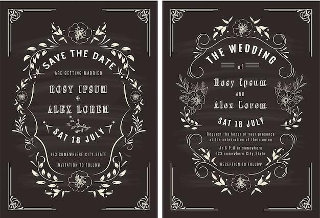 Vetores conjunto de cartões de convite com elementos coleção de casamento. Vetor Premium