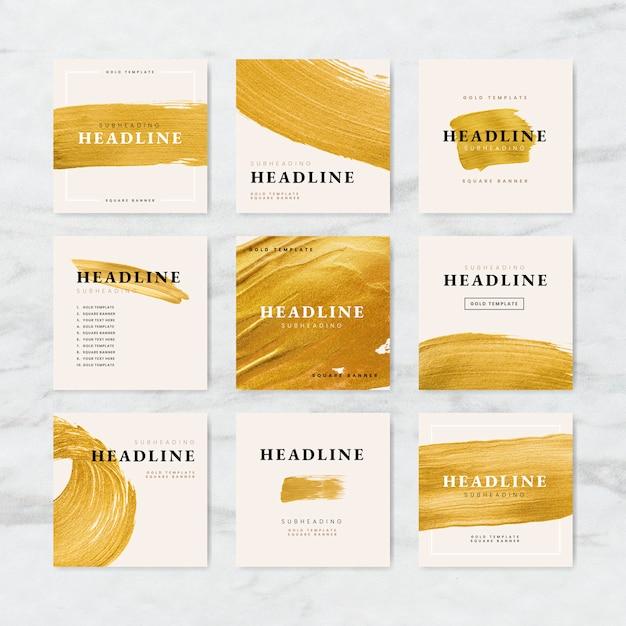 Vetores de coleção de modelo de negócios traçado dourado escova Vetor Premium