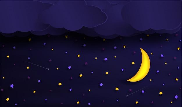 Vetores do céu durante a noite. Vetor Premium