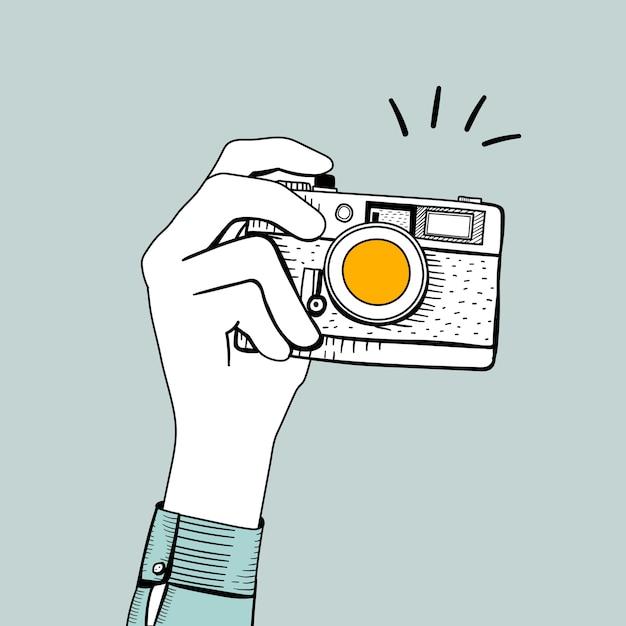 Vetorial, de, vindima, câmera Vetor grátis