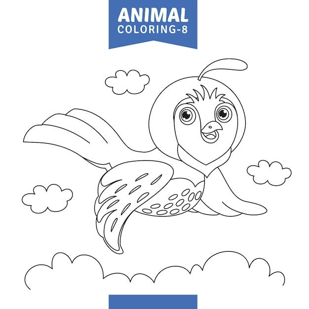 Vetorial, ilustração, de, animal, coloração, página Vetor Premium