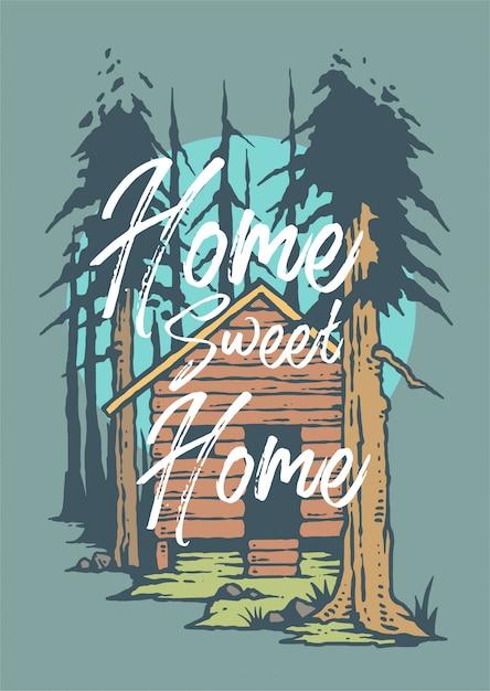 Vetorial, ilustração, de, cabana, em, a, madeiras Vetor Premium