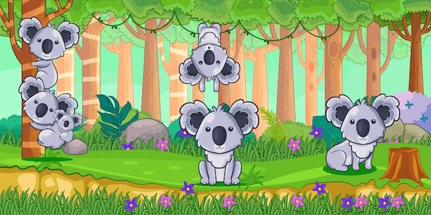 Vetorial, ilustração, de, caricatura, koalas, em, a, selva Vetor Premium