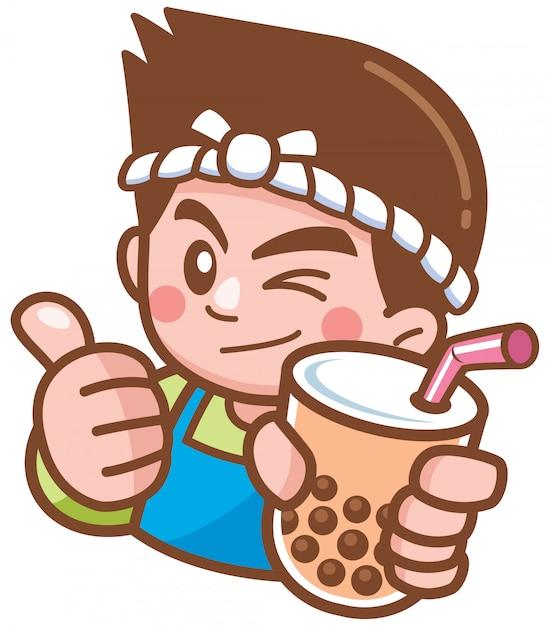 Vetorial, ilustração, de, caricatura, macho, apresentando, chá bolha Vetor Premium