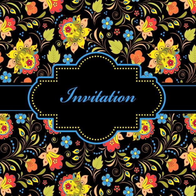 Vetorial, ilustração, de, coloridos, floral, convite, cartão Vetor Premium