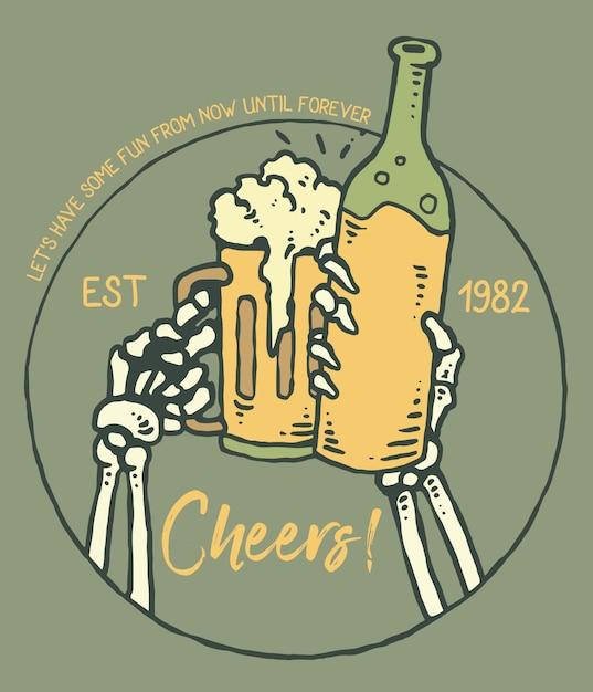 Vetorial, ilustração, de, cranio, mão, cheers Vetor Premium