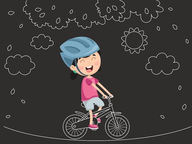 Vetorial, ilustração, de, criança, montando, bicicleta Vetor Premium