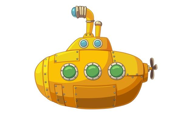 Vetorial, ilustração, de, cute, amarela, submarino Vetor Premium