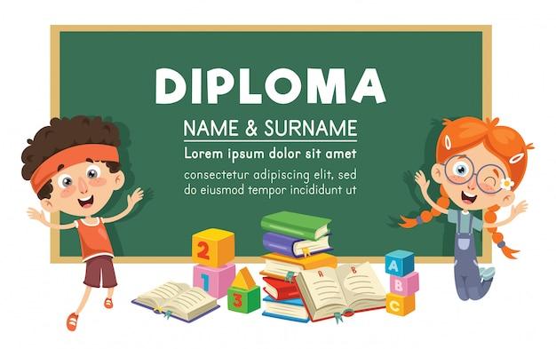 Vetorial, ilustração, de, diploma, desenho Vetor Premium