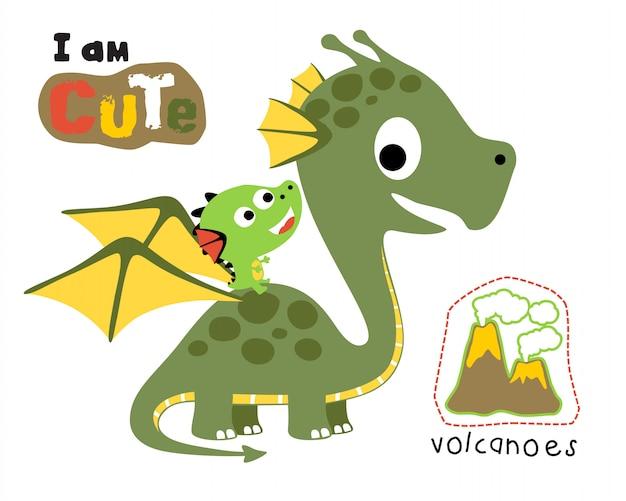 Vetorial, ilustração, de, dragão, caricatura Vetor Premium
