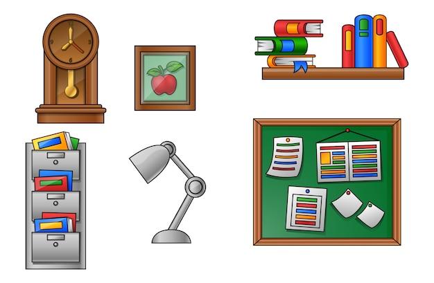 Vetorial, ilustração, de, educação, e, escola, ícone, jogo Vetor Premium
