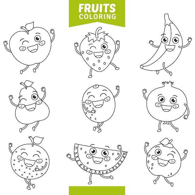 Vetorial, ilustração, de, frutas, coloração, página Vetor Premium