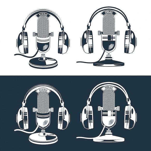 Vetorial, ilustração, de, isolado, retro, e, vindima, microfone Vetor Premium