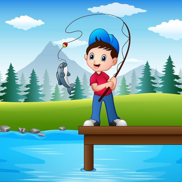 Vetorial, ilustração, de, menino, pesca, em, a, rio Vetor Premium