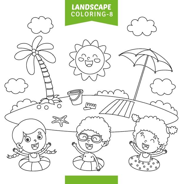 Vetorial, ilustração, de, paisagem, coloração, página Vetor Premium