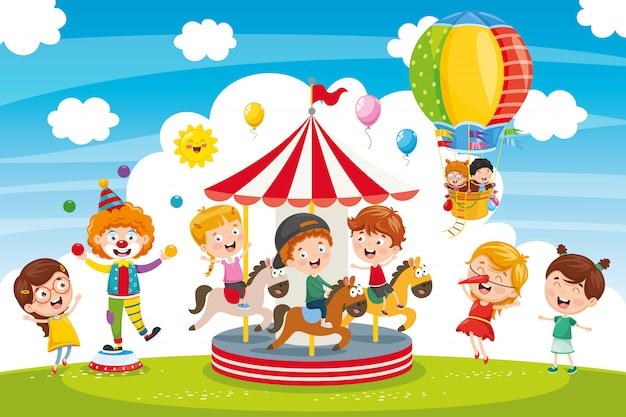 Vetorial, ilustração, de, parque divertimento Vetor Premium