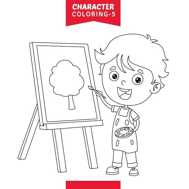 Vetorial, ilustração, de, personagem, coloração, página Vetor Premium