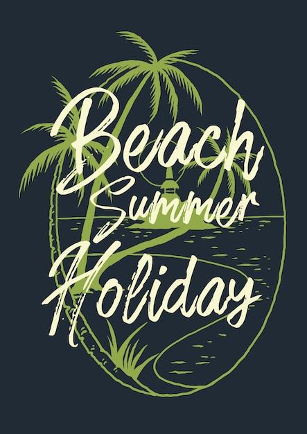 Vetorial, ilustração, de, praia, paisagem tropical Vetor Premium