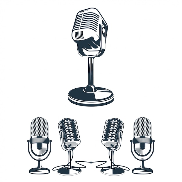 Vetorial, ilustração, de, retro, microfone, jogo Vetor Premium