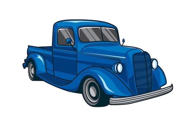 Vetorial, ilustração, de, um, clássicas, azul, caminhão, car Vetor Premium