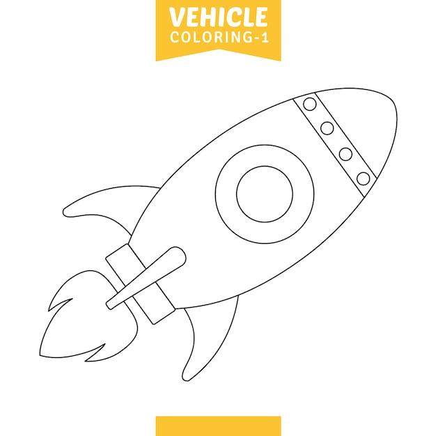 Vetorial, ilustração, de, veículo, coloração, página Vetor Premium