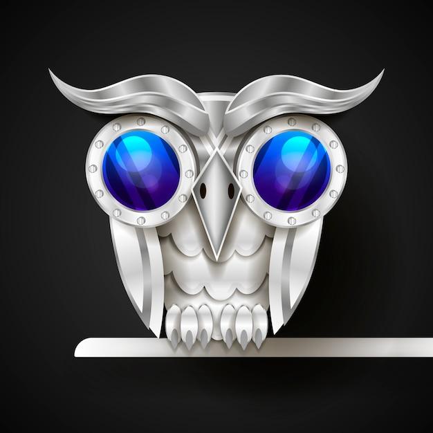 Vetorial mão desenhada coruja mecânica. Vetor Premium