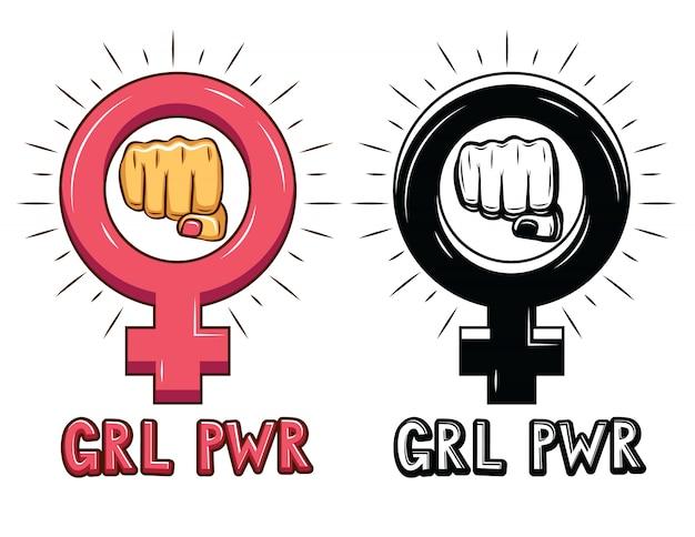 Vetorial mão desenhado conjunto de sinais sobre o poder da mulher. Vetor Premium