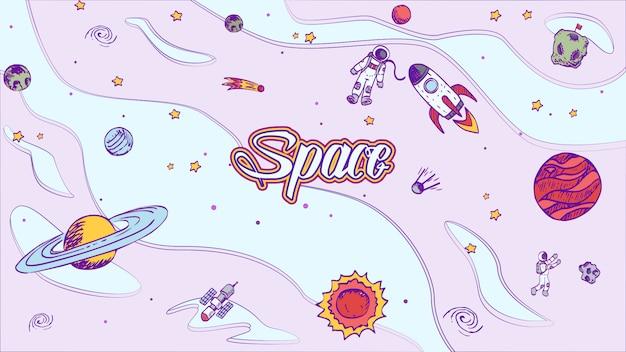 Vetorial mão extraídas fundo de design de espaço com letras. Vetor Premium