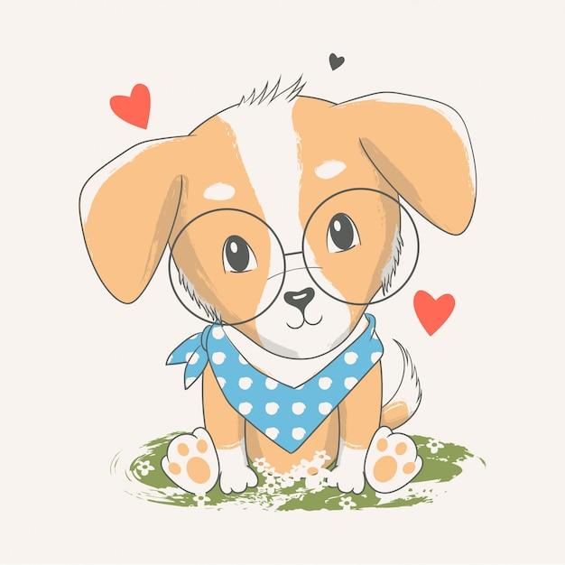 Vetorial mão ilustrações desenhadas de um cachorro fofo Vetor Premium