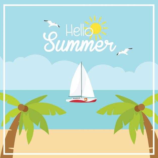 Vetorial, praia, ilustração, com, mar, e, coqueiros Vetor Premium