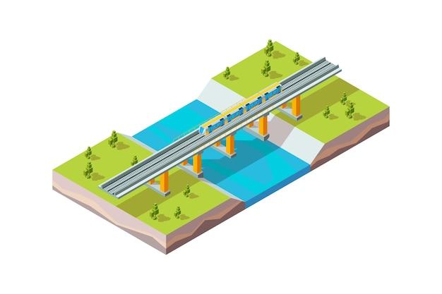 Viaduto ferroviário. trem urbano acima isométrica do vetor da ferrovia de infraestrutura da cidade moderna do rio. trem ferroviário, ilustração de ponte de transporte ferroviário Vetor Premium