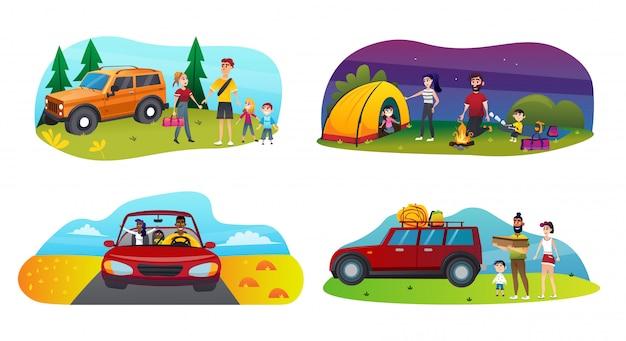 Viagem ajustada da família da bandeira com o plano dos desenhos animados das crianças. Vetor Premium