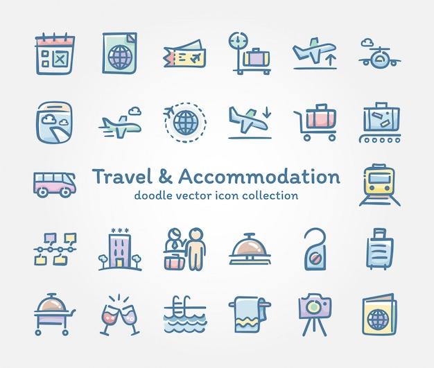 Viagem & alojamento doodle coleção de ícone vector Vetor Premium
