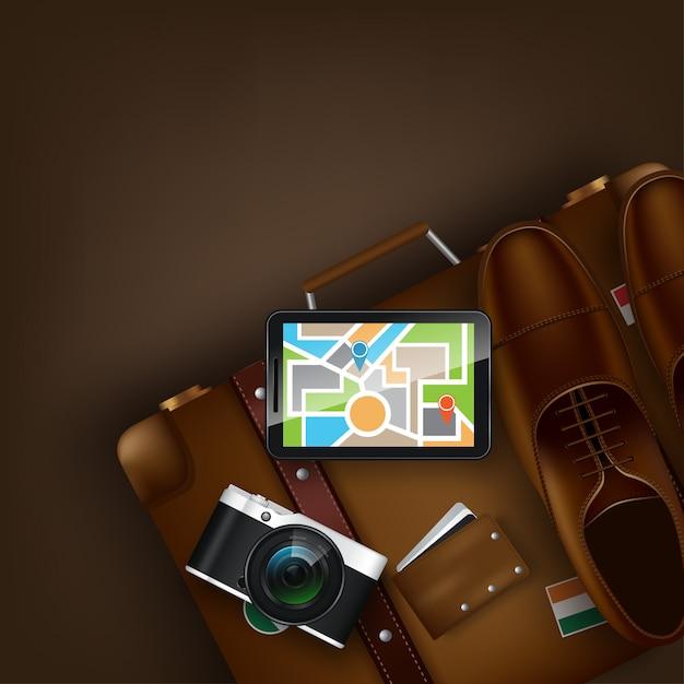 Viagem ao mundo. viajar para o mundo. período de férias. viagem. turismo. abra a mala com marcos. viagem. ilustração itinerante Vetor Premium
