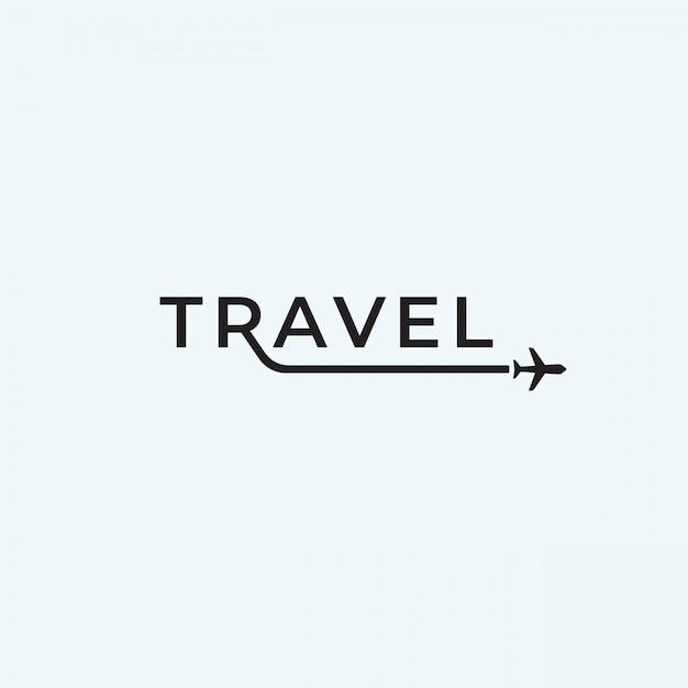 Viagem avião logotipo texto design inspiração. Vetor Premium