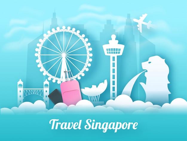 Viagem bandeira de singapura ou design de cartaz. Vetor Premium