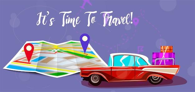 Viagem com mapa. Vetor Premium
