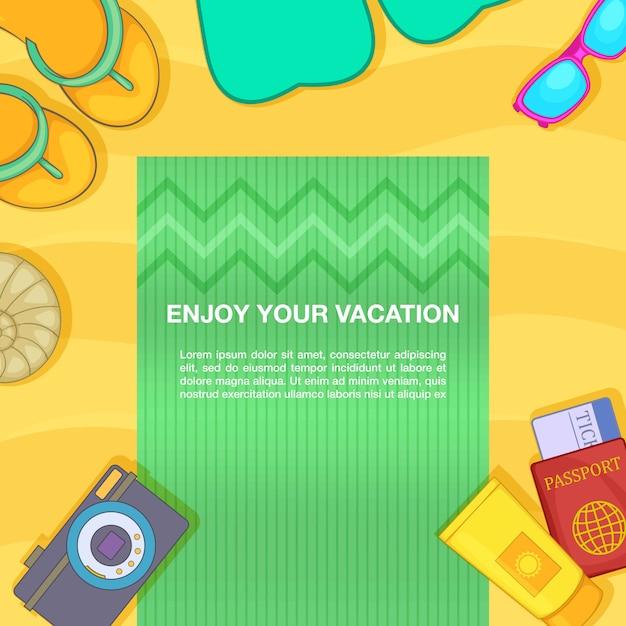 Viagem conceito praia, estilo cartoon Vetor Premium
