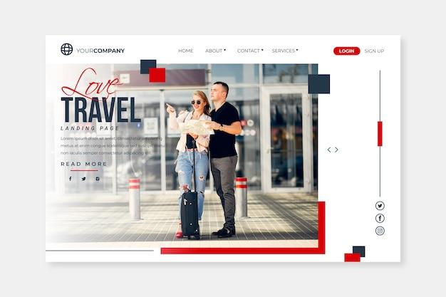 Viagem da página de destino com imagem Vetor grátis