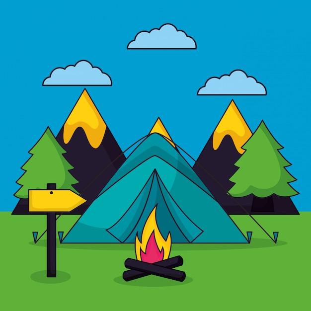 Viagem de acampamento em estilo simples Vetor grátis