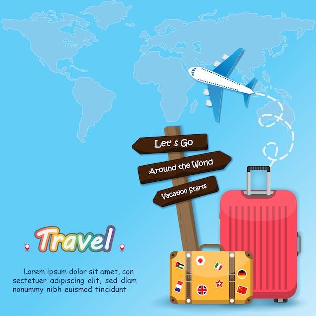 Viagem de bagagem de bandeira ao redor do mundo Vetor Premium