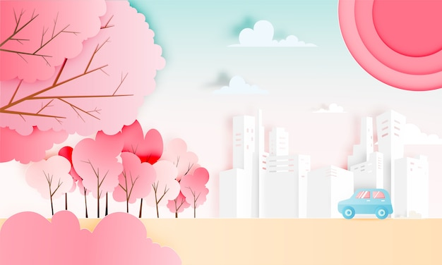 Viagem de carro com carro na temporada de primavera e papel de fundo de esquema de cor pastel natural corte ilustração vetorial de estilo Vetor Premium