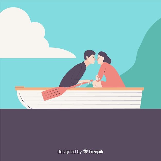 Viagem de casal plana Vetor grátis