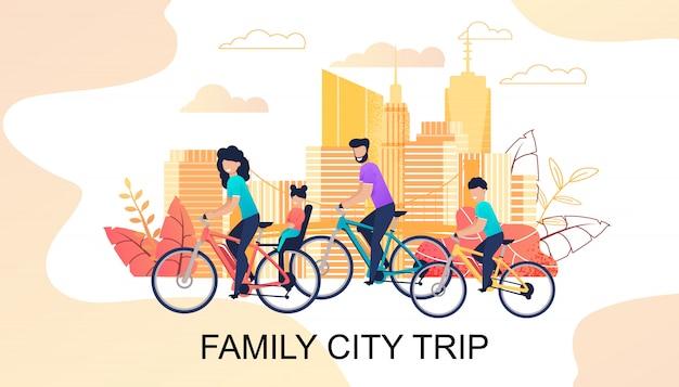 Viagem de cidade de família na faixa motivacional de bicicletas Vetor Premium