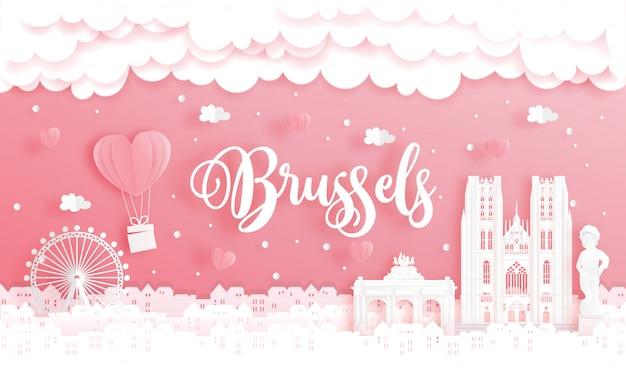 Viagem de lua de mel e conceito de dia dos namorados com viagens para bruxelas, bélgica e marco mundialmente famoso Vetor Premium